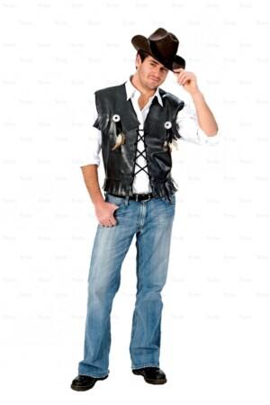 Cowboy vest leder zwart-0