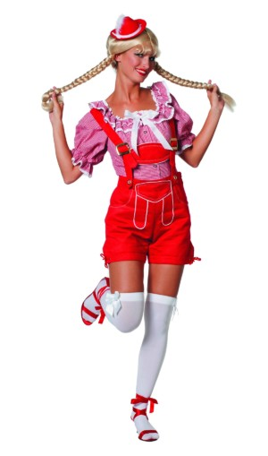Dirndl blouse kort rood / wit luxe