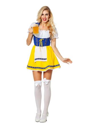 Dirndl jurkje geel / blauw