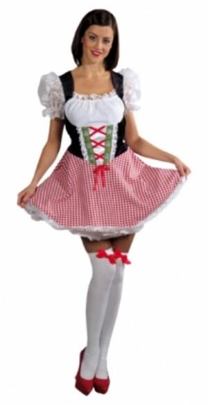 Dirndl jurkje rood / wit Heidi