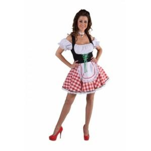 Dirndl jurkje rood / wit
