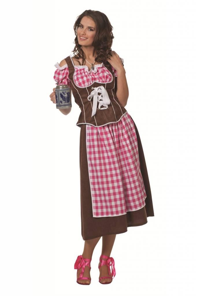 Dirndl jurk suedine roze / bruin