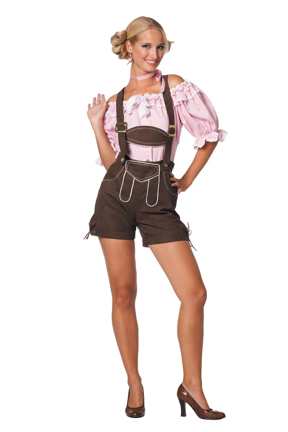 Dirndl blouse kort roze / wit luxe