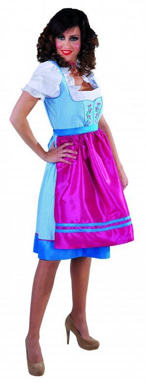 Dirndl jurkje lichtblauw / roze luxe