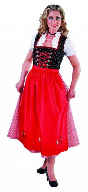 Dirndl jurk zwart / rood luxe