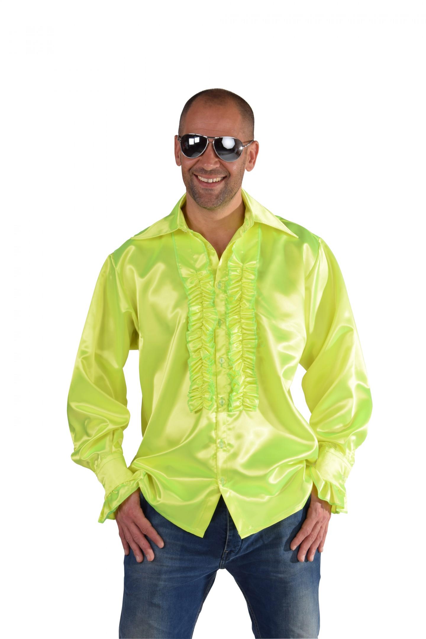 Roucheshemd satijn fluor geel-0
