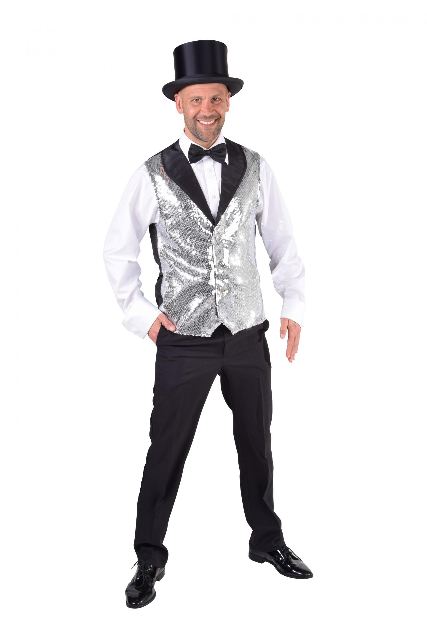 Vest pailletten luxe zilver-0