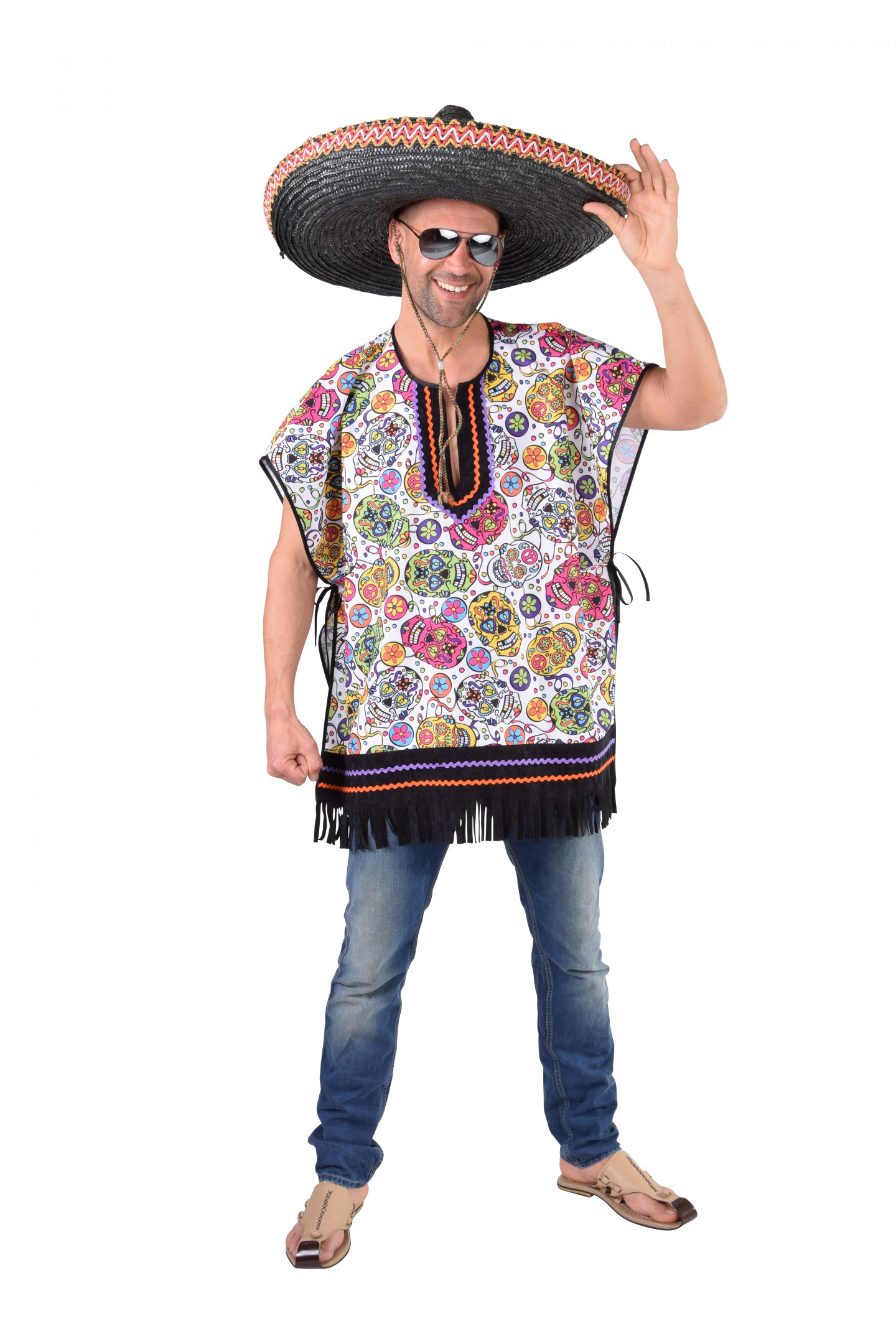 Poncho Mexican skull-0