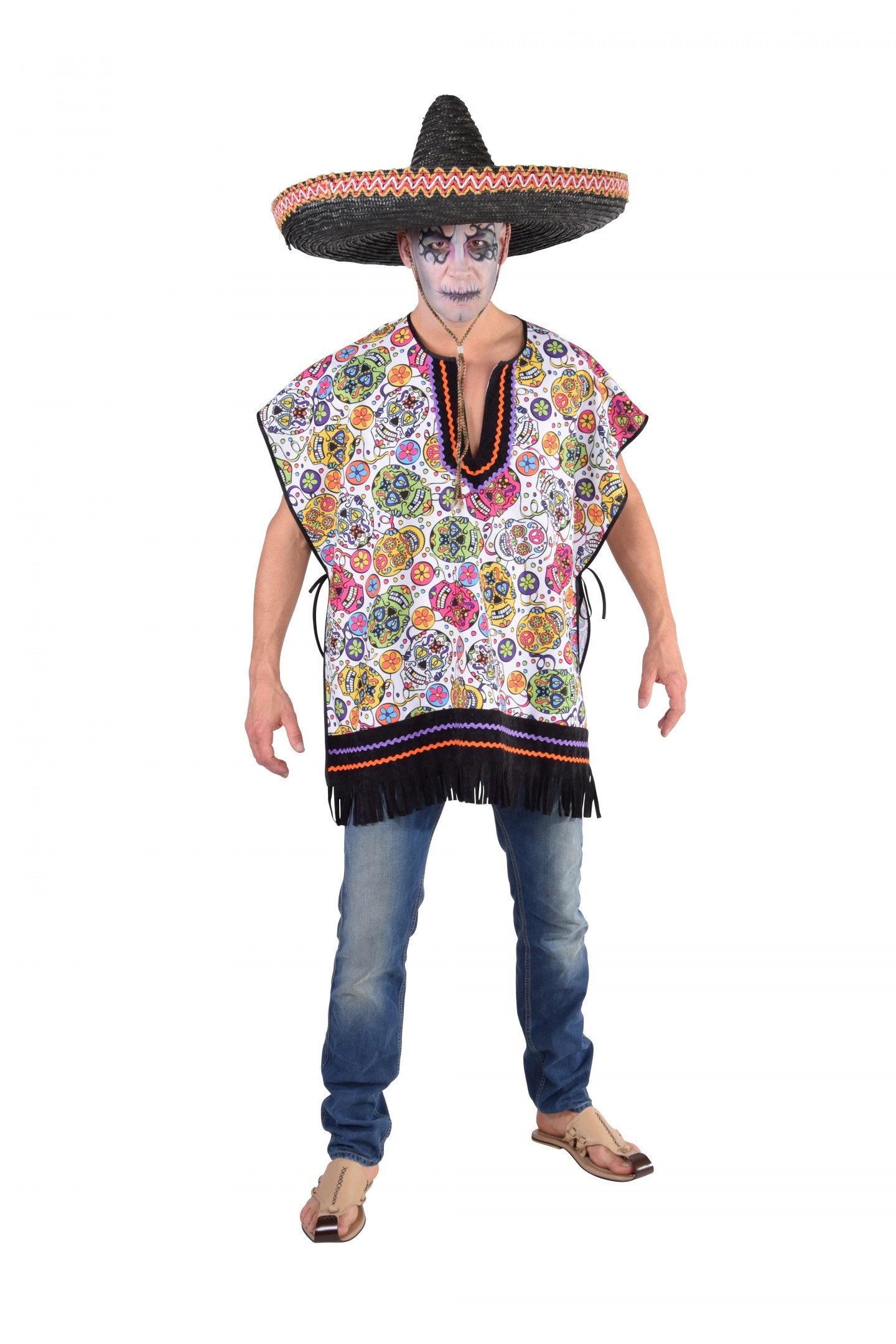 Poncho Mexican skull-225993