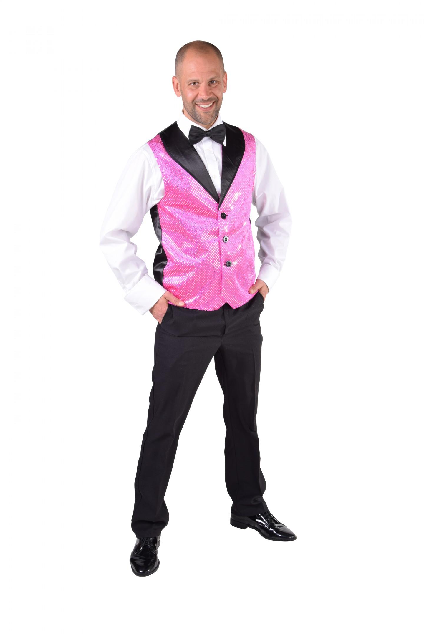 Vest pailletten pink-0