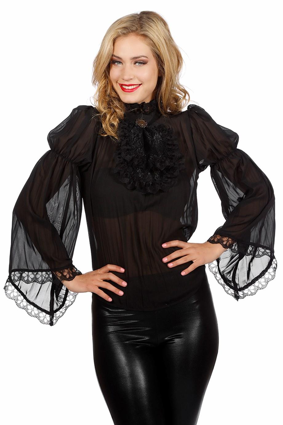 Piraten/Gothic blouse zwart-0
