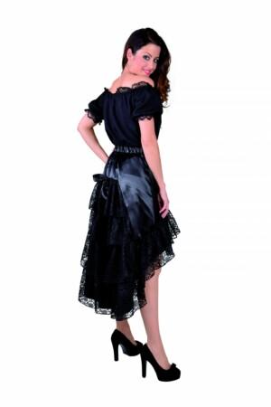 Luxe satijn rok met kant zwart-0