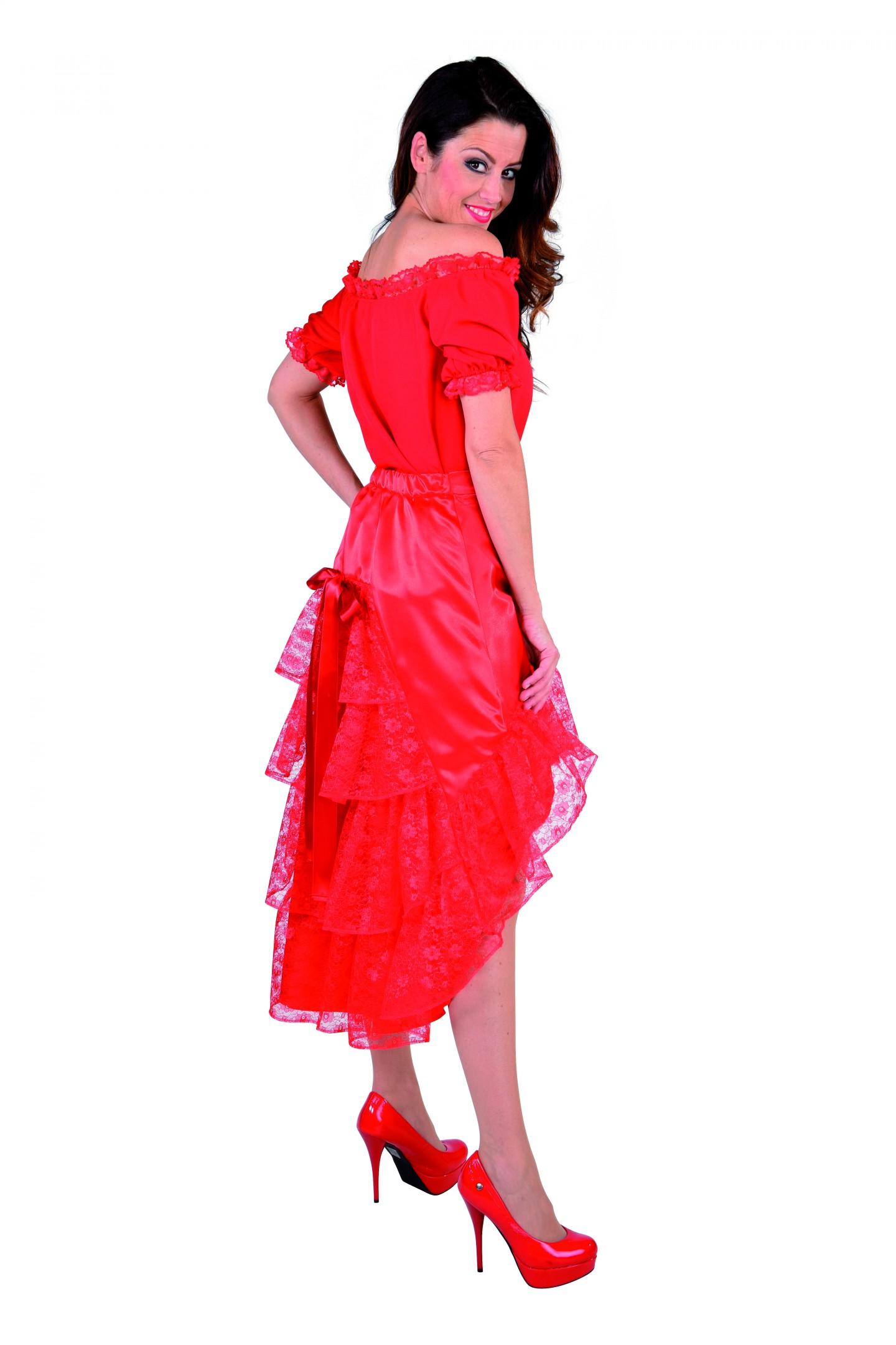 Luxe satijn rok met kant rood-0