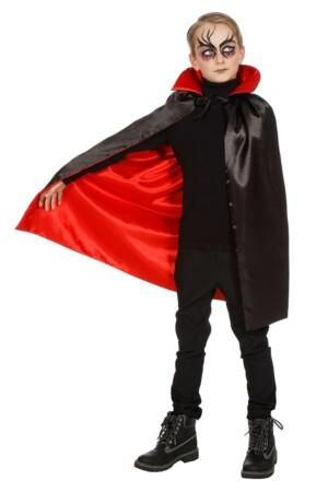 Draculacape met kraag zwart/rood-0