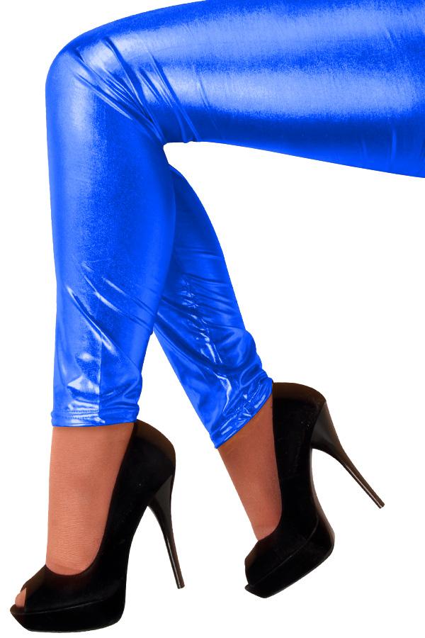Legging metallic blauw-0
