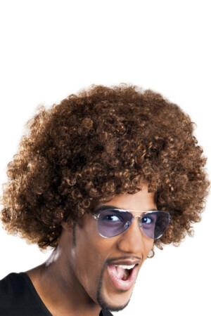 Pruik Afro bruin-0