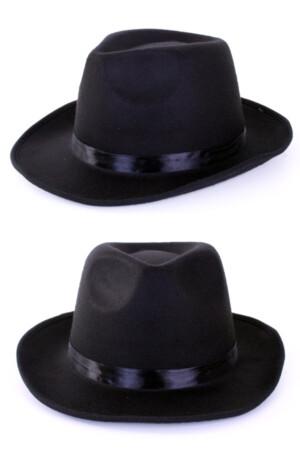 Alcapone hoed zwart zware kwaliteit met elastieke band-0