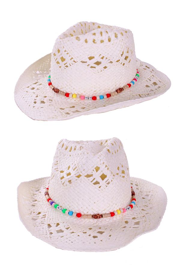 Cowboyhoed wit luxe met band-0