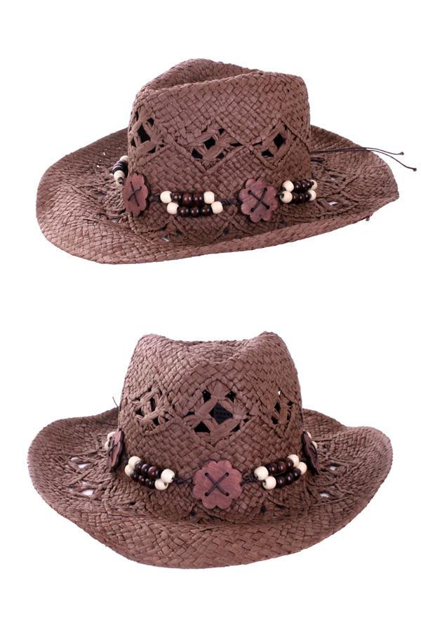 Cowboyhoed luxe met houten band-0