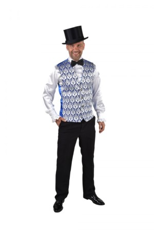 Vest brocaat royal blauw-0
