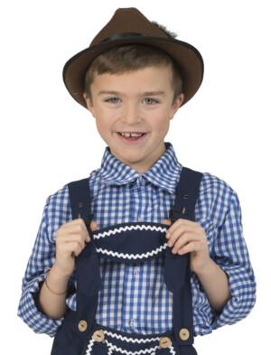 Tirolerhemd geruit donkerblauw/wit-0