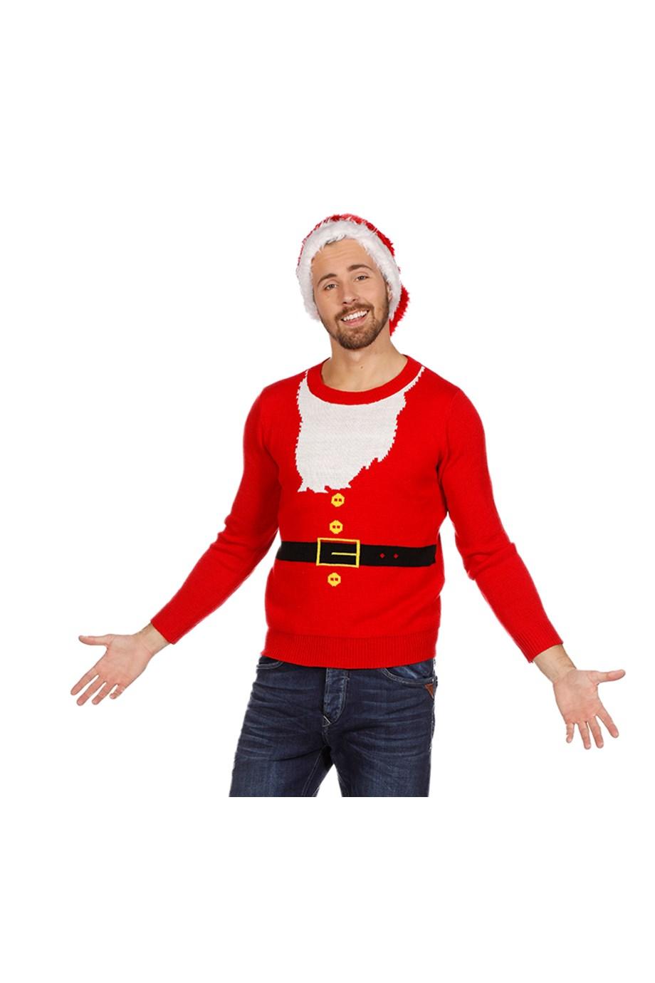 Kersttrui Rood Santa baard-0