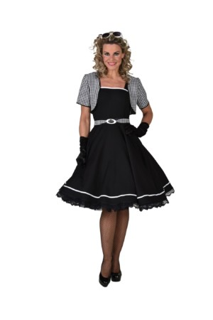 50's jurk Jackie zwart/wit