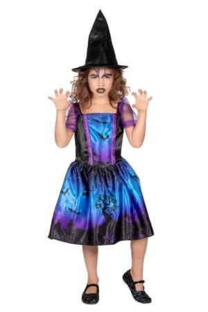 Halloweenjurkje blauw/paars met print