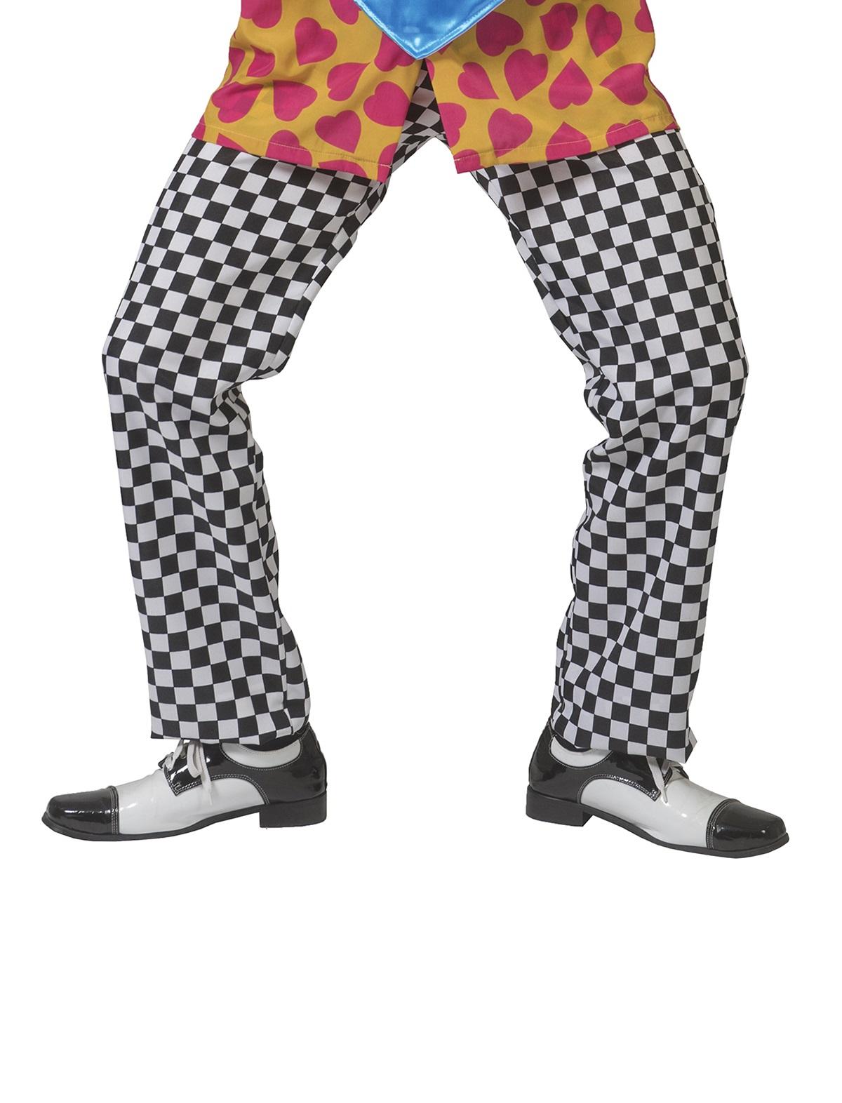 Geblokte clownsbroek zwart/wit 1