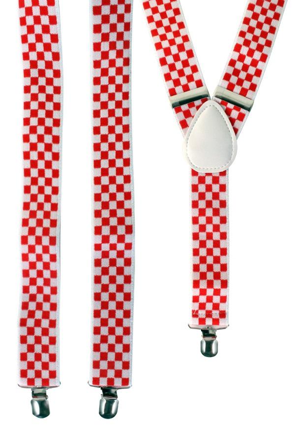 Bretel rood/wit geblokt 1