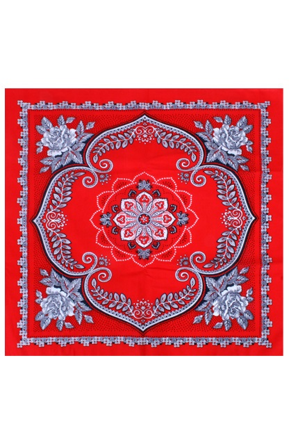 Zakdoek rood waaier bloem 63 x 63 cm