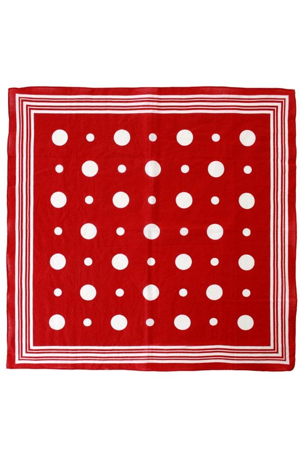Zakdoek rood met witte bolletjes en strepen 56 x 56 cm