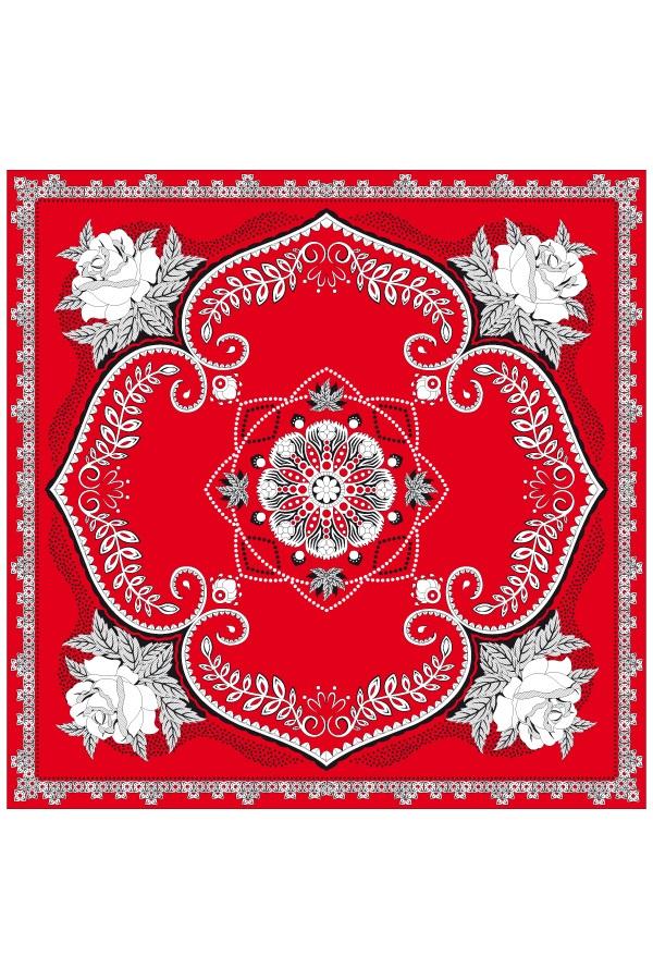 Boerenzakdoek rood 63×63 cm bloemen motief 1