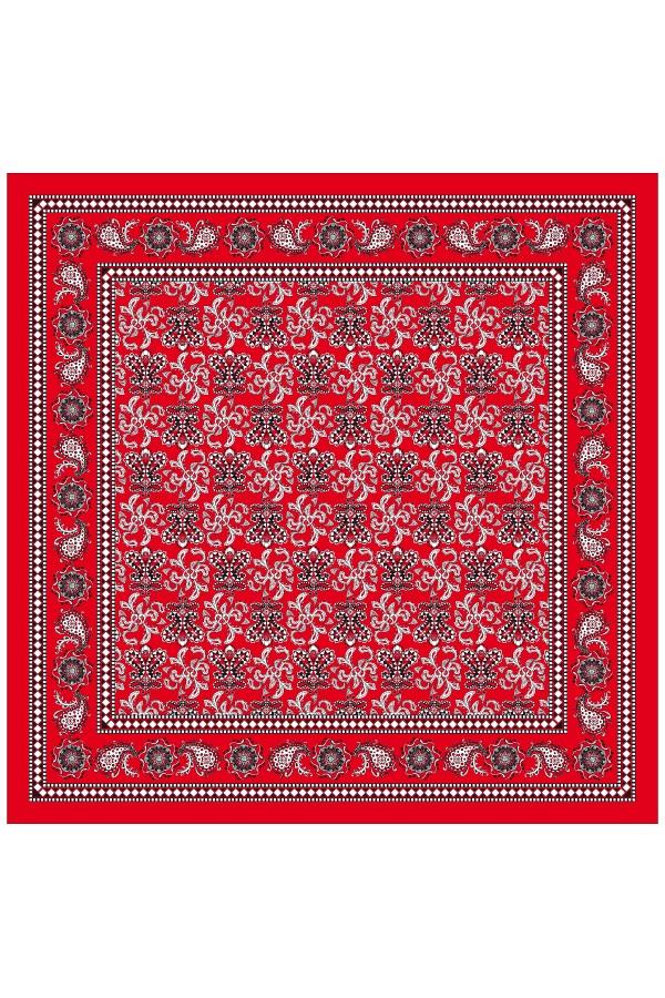Boerenzakdoek rood 63×63 cm waaier motief 1