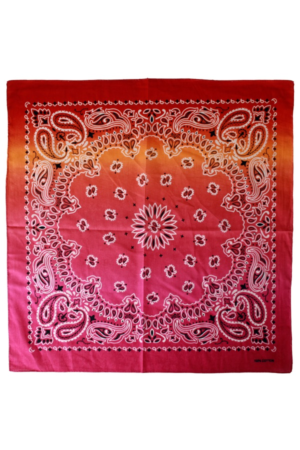 Zakdoek met kleurverloop rood/oranje/roze 56 x 56 cm 1