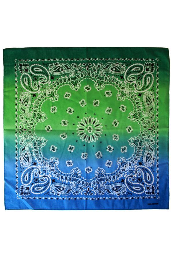 Zakdoek met kleurverloop groen/blauw 56 x 56 cm 1
