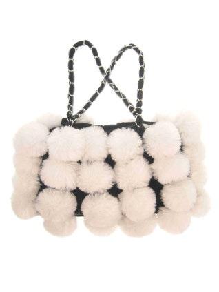 Schoudertas bont met witte bollen 1