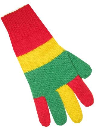 Handschoen rood/geel/groen volwassen