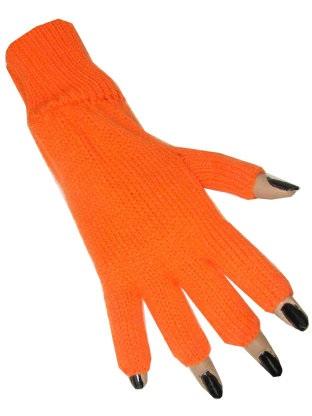 Vingerloze handschoen oranje 1