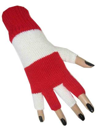 Vingerloze handschoen rood/wit 1