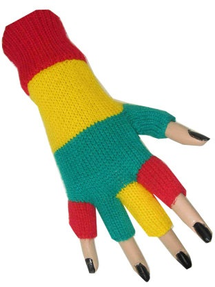Vingerloze handschoen rood/geel/groen 1