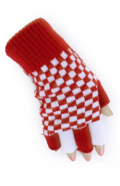 Vingerloze handschoen rood/wit geblokt 1