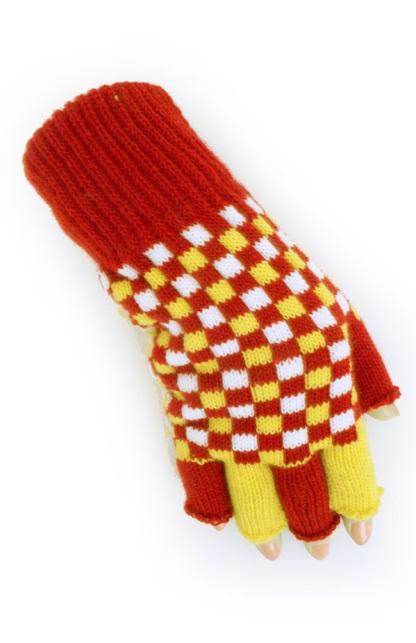 Vingerloze handschoen rood/wit/geel geblokt 1