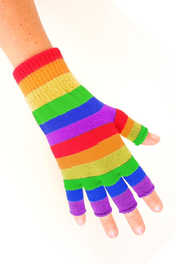 Vingerloze handschoen regenboog gestreept 1