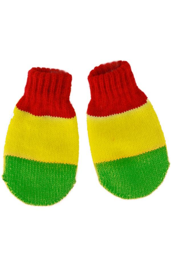 Gebreide wanten kinderen rood/geel/groen 1