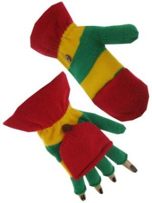 Vingerloze handschoen rood/geel/groen met kapje 20 cm