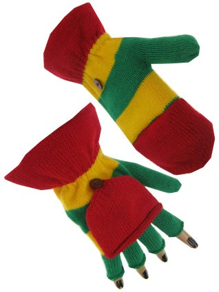 Vingerloze handschoen rood/geel/groen met kapje 20 cm 1
