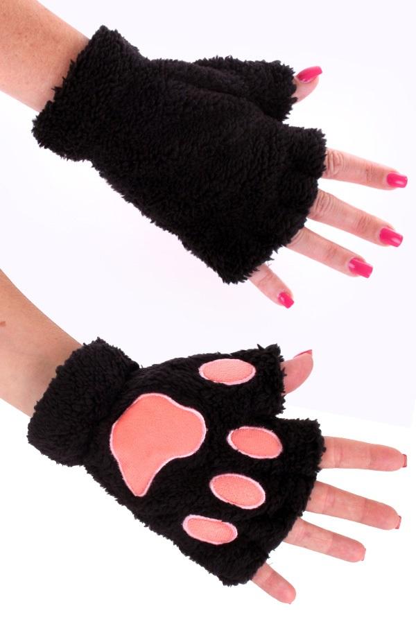 Vingerloze handschoenen pluche dierenpootje zwart 1