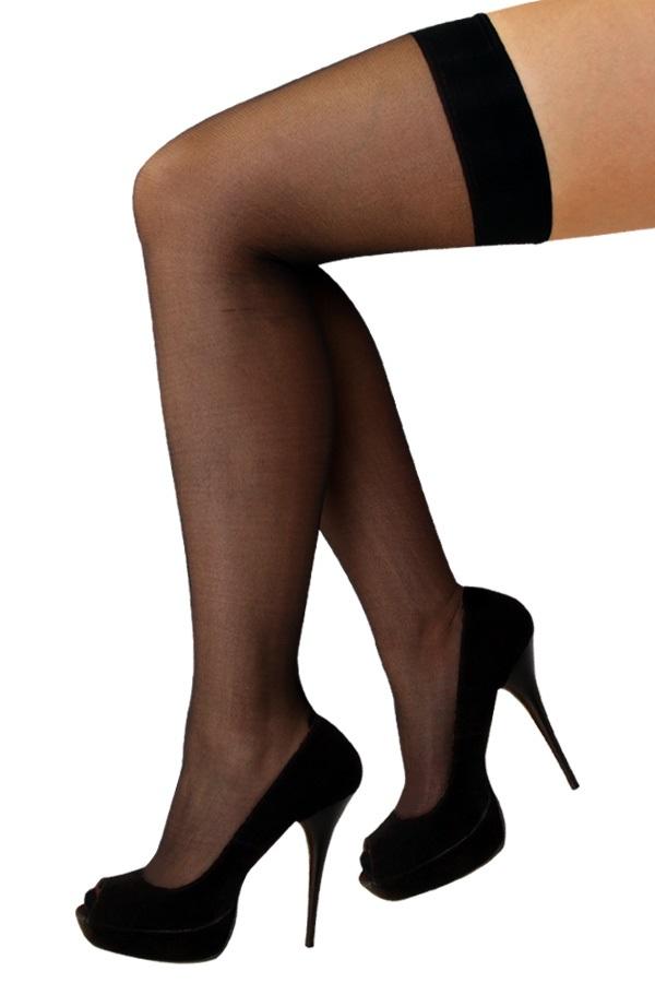 Stay-up kousen zwart met streep one size 1