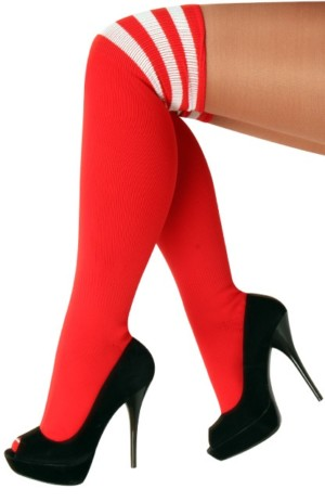 Lieskousen rood / 3 witte strepen